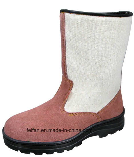 Suede Leather High Ankle Safety Boots with Different Color