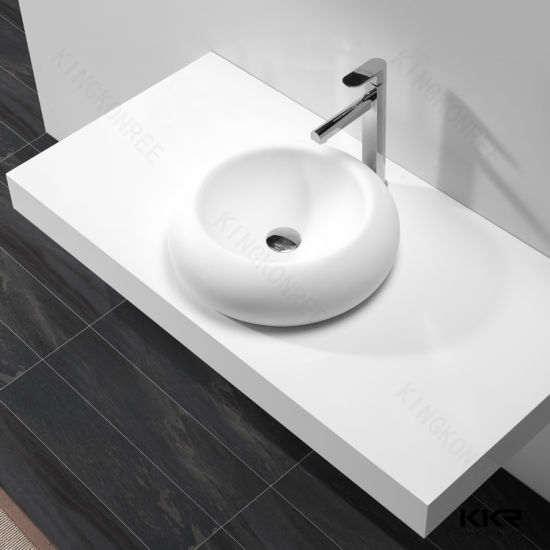 Stone Resin Solid Surface Round Shape Vessel Bathroom Sink