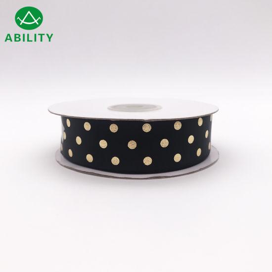 Hot Selling Gold Foil Dots Printed Fashion Garments Grosgrain Ribbon