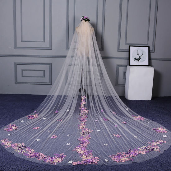 Pink Color Flower Lace Long Tulle Bridal Wedding Veil Ts5521