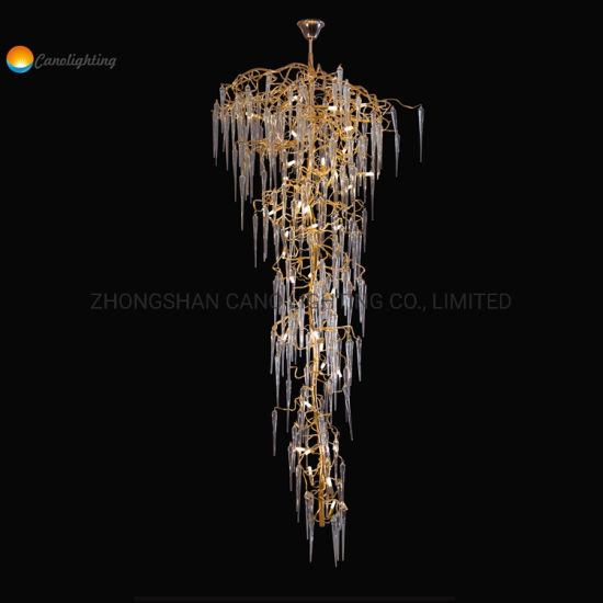 Long Needle Shape Branch Garden Chandelier with Gold Finish