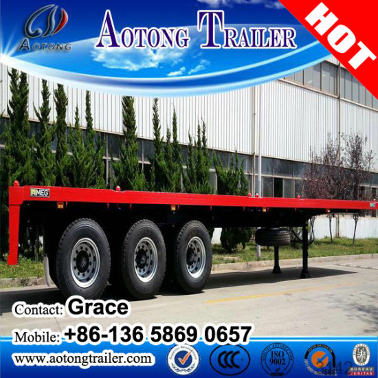 China Factory 3 Axle 40FT Side Wall Flatbed Container Trailer / Bulk Cargo Trailer Truck for Sale pictures & photos