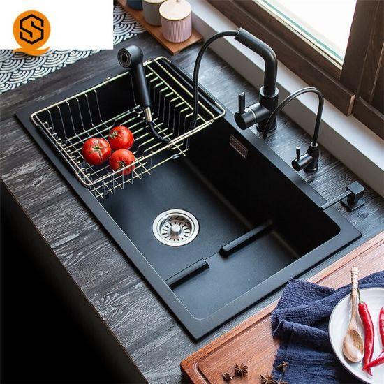 China Supplier Oil Resistance Composite Stone Sink Granite Kitchen Sinks