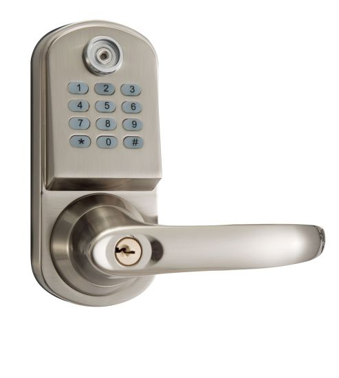 Small Electronic Door Lock Unlocked by Code and Keys in Plated Satin Nickel
