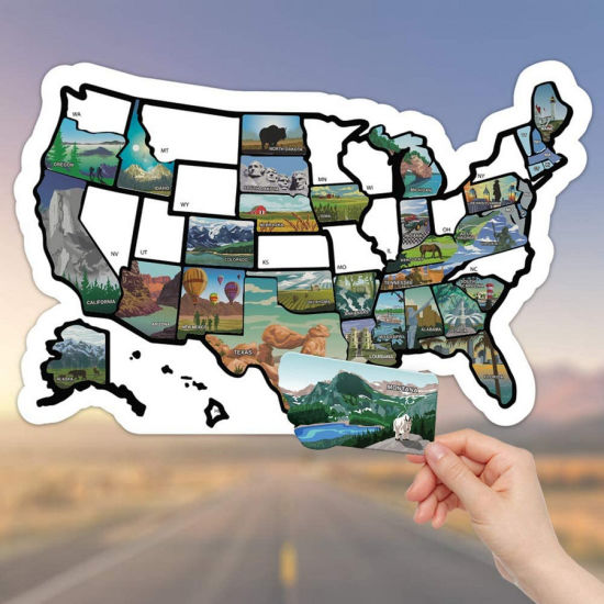 United States License Plate Non Magnet Road Trip Window Stickers