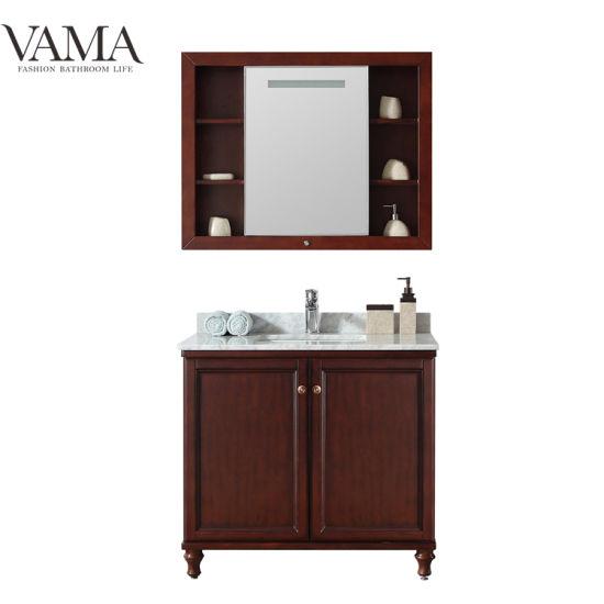 China Vama 36 Inch American Style Solid Wood Bathroom Vanity