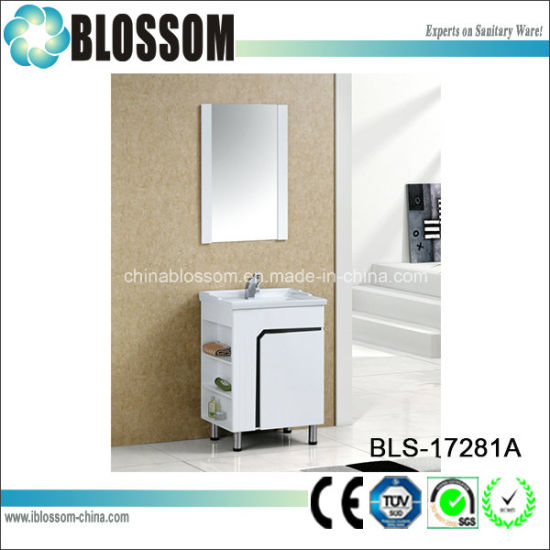 White Lacquer Finish Home Hotel Furniture Vanity PVC Bathroom Cabinet (BLS-17281A)