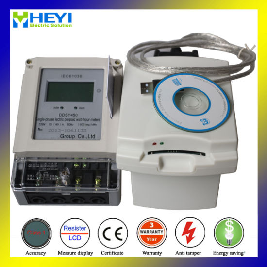 Single Phase LCD Display IC Card Electronic Prepaid Watt-Hour Meter pictures & photos