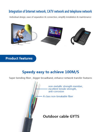 6 Core Fiber Optic Cable for Aerial Application GYTS