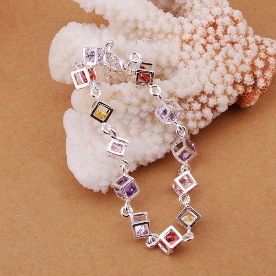 Hot Sale Colorful Stone Checkered New Design 925 Stealing Steel Bracelet Charm Bracelet Fashion Jewelry pictures & photos