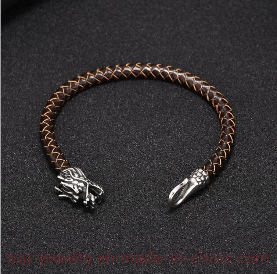Stainless Steel Bracelet National Hot-Selling Titanium Steel Bracelet Men's Leading Cowhide Jewelry