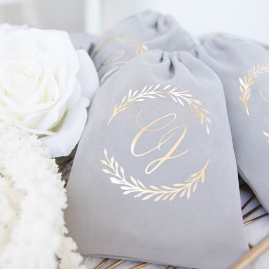 Velvet Favor Bags - Silver Gold Rose Gold Wedding Bridal Shower Favors Bags pictures & photos