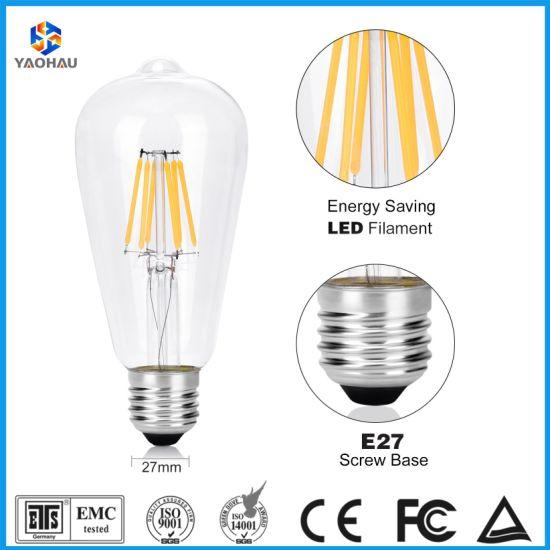 Vintage Edison LED Light Bulb St64 A60 C35 G80 T45 2W 4W 6W 8W Spiral Flexible LED Filament Decorative Bulb E27 Screw Base Warm White 2200K Lighting Lamp Bulbs