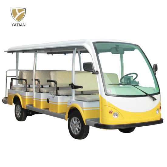 Low Speed Electric Shuttle Vehicles 14 Seaters New Design ISO9001 Certificate Sightseeing Bus