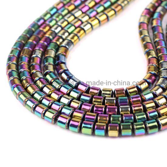 Women Jewelry Hematite Drum Stone Beads for Bracelets Earrings Necklace