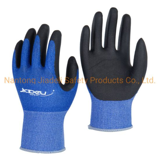 13G Blue Coolmax Knitted Safety Glove, with Black Foam Nitrile Coating on Palm