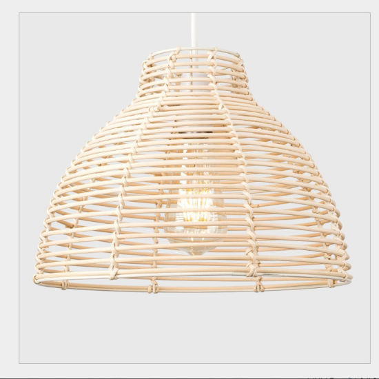 Modern Wicker Rattan Basket Style Ceiling Hanging Pendant Lights