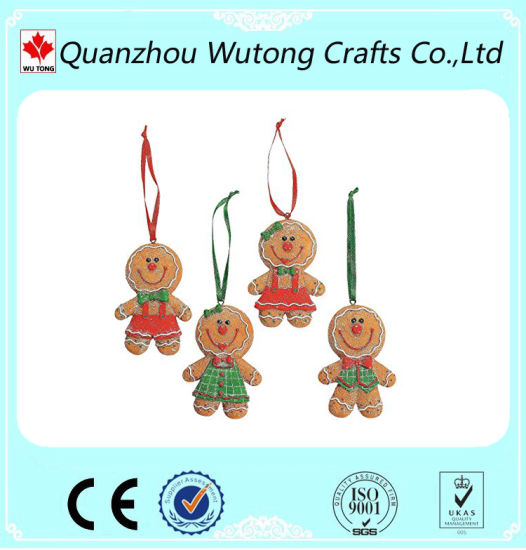 Handicrafts The Gingerbread Man Design Resin Christmas Gifts Tree Decoration pictures & photos