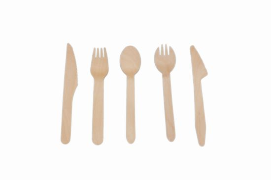 100% Natural Wooden Biodegradable Compostable Cutlery Dinnerware Tableware Kitchen Utensils Fork