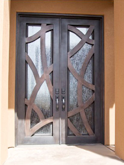 Square Top Modern Style Iron Custom Exterior Front Entry Door pictures & photos