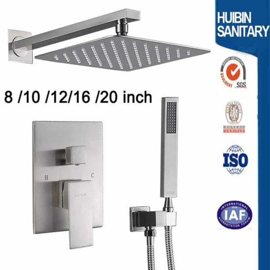 Wall Mounted Concealed Mixer Bathroom Shower Set with Top Shower