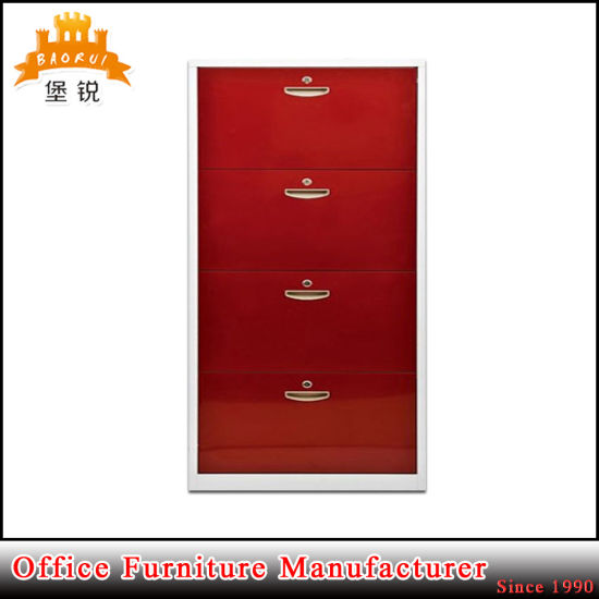 4 Tier Home Steel Shoes Cabinet Metal Shoe Rack for Sale pictures & photos
