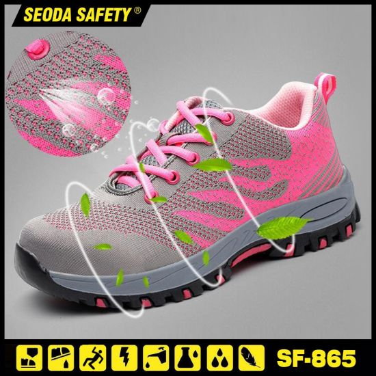 Super Breathable Womens Flyknit Work Safety Shoes with Rubber Sole