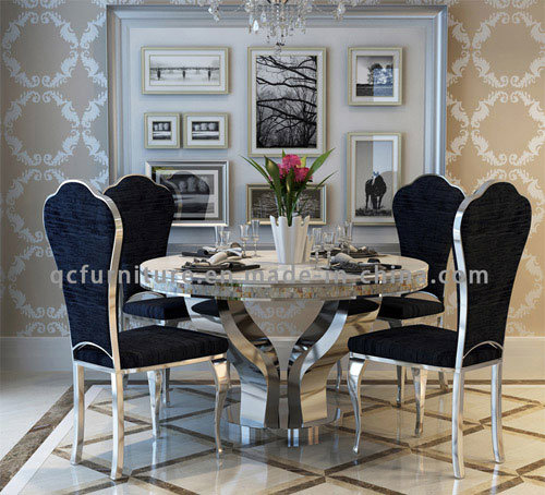 Latest Designs Marble Top Round Dining Centre Stainless Steel Table pictures & photos