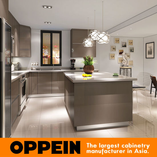 Modern Glossy Grey Wooden PP L-Shaped Modular Kitchen Cabinets (OP16-PP01) pictures & photos