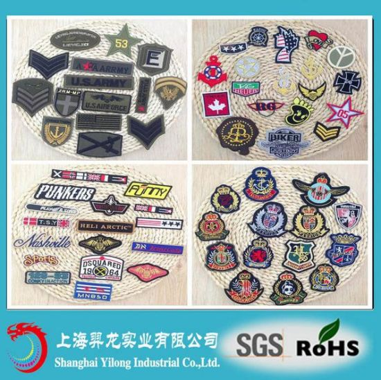 Custom Cheap Embroidery Clothing Circular Woven Label Patch
