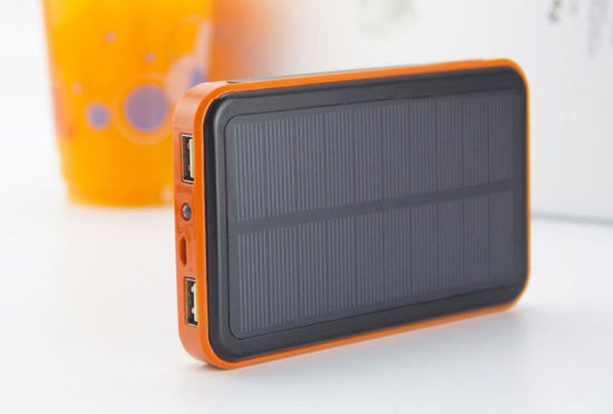 Large Capacity Dual Port 10000mAh Solar Charger Power Bank with RoHS pictures & photos