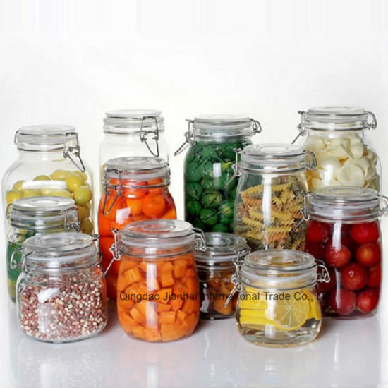 Round Glass Preserve Food Storage Kilner Salt Jar with Clip pictures & photos
