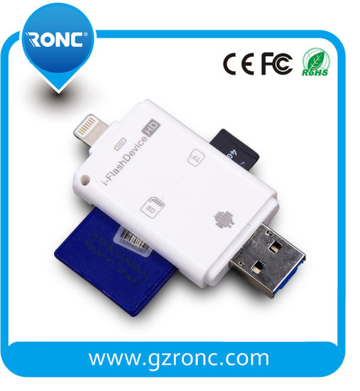 Portable TF/Micro SD USB OTG Card Reader for Apple/Android Phone