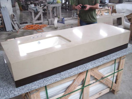 Kitchen/Bathroom Beige Soapstone Solid Surface Wholesale Prefab Quartz Countertops