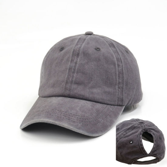 Custom Blank Washed Cotton Baseball Cap Sport Hats Ponytail Cap with Women Horsetail Hole for Promotion