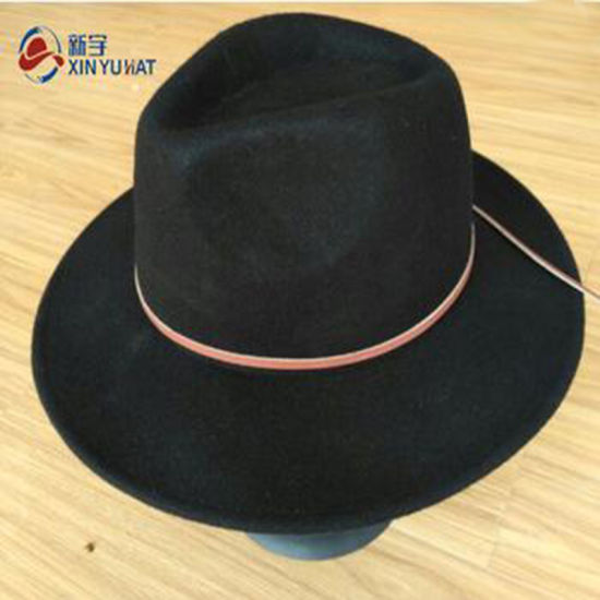 8cc9f4446a9c2 China Wholesale Wide Brim Black Wool Felt Fedora Hats for Women ...