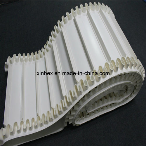 PU FDA Blue/White Sidewall Cleats Food Factory Incline Conveyor Belt pictures & photos