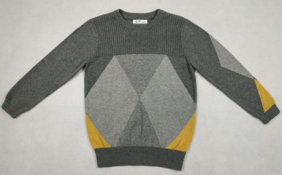 Boy′s Gray Round Neck Long Sleeves Sweater pictures & photos