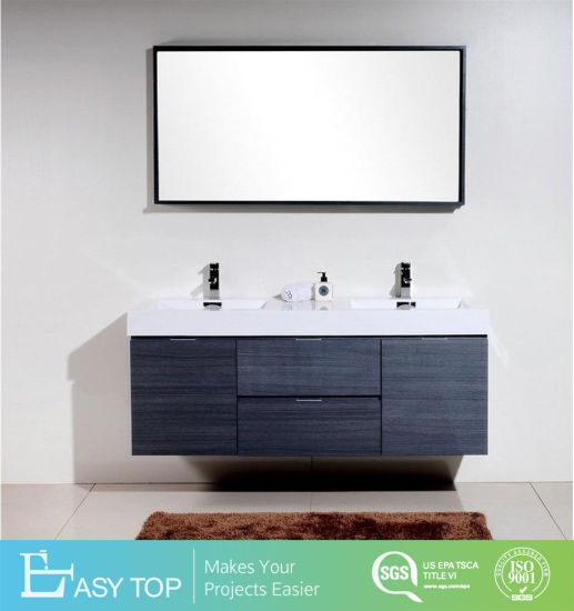 Waterproof Double Sink Gray Oak Wall Mount Modern Bathroom Vanity