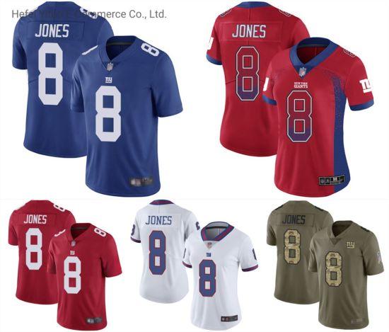High Quality OEM 8 Daniel Jones Rip-Stop Giants Football Top Gym Suits