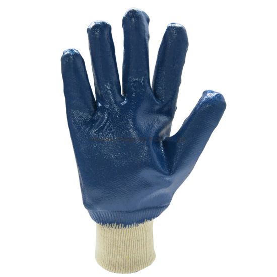 Cotton Wth Blue Nitrile Fully Coating Safety Working Gloves