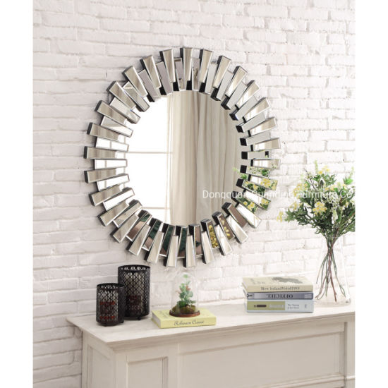 Home and Hotel Round Metal Sunburst Crystal Decorative Wall Mirror