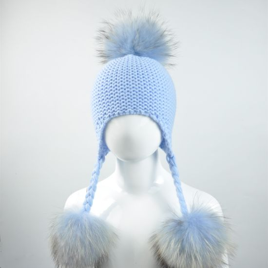 Women Winter Chinchilla Fur Pompoms Hats Beanies pictures & photos