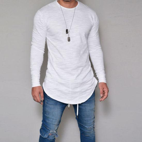 Men's 95%Cotton 5%Elastane Muscle Fit Custom Curved Hem Longline T Shirt