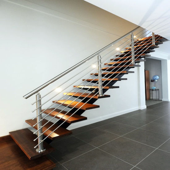 Carbon Steel Stringer Design with Wood Tread Straight Staircase