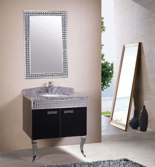 European Luxury Mosaic Design Mirrored Steel Bathroom Cabinet Floor Standing