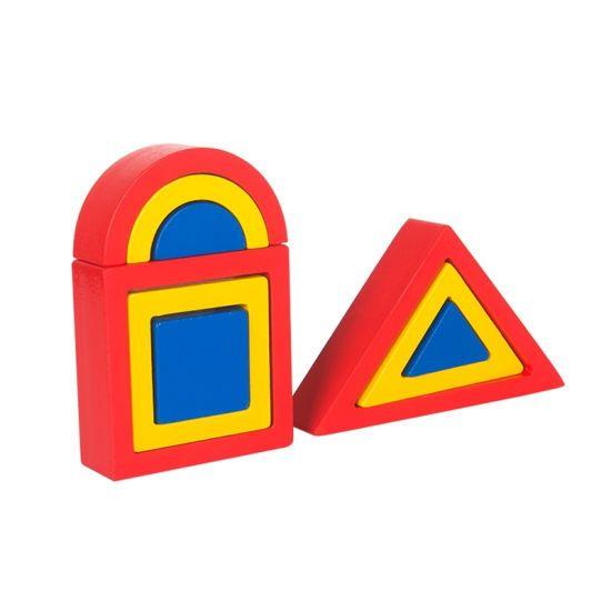 Colorful in Door Game Wooden Shape Building Blocks Kids Toys