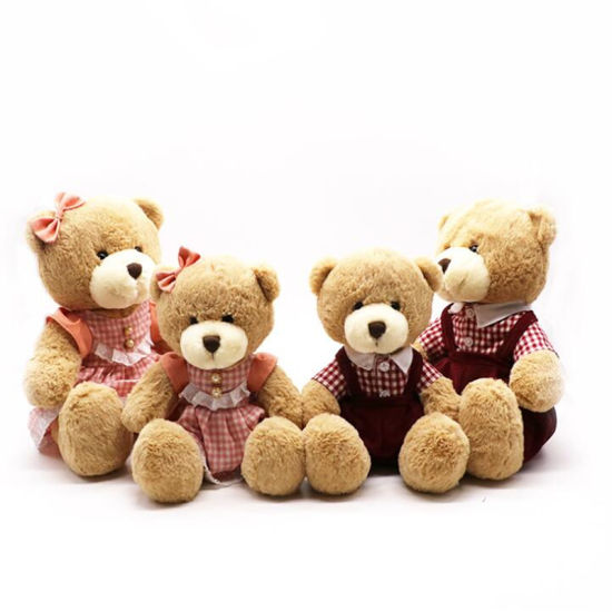 Customized Design Cartoon Cute Colorful Stuffed Brown Plush Teddy Bear Toy