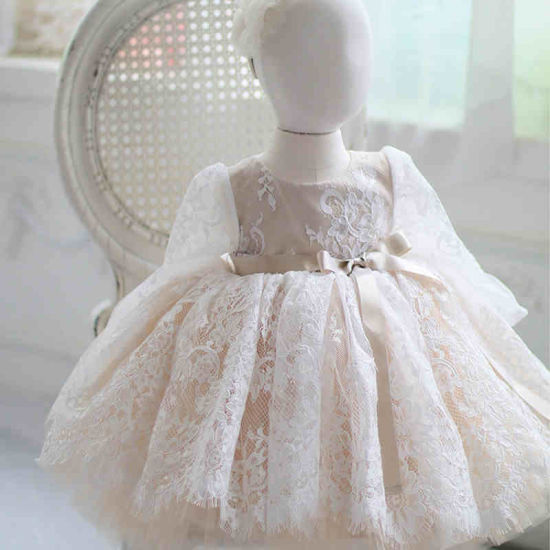 Long Sleeve Lace Flower Girl Dress Bridal Gown
