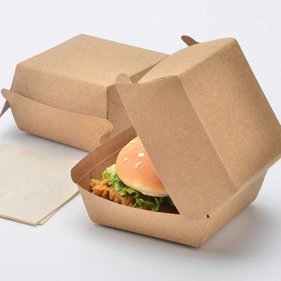 Eco-Friendly Carton Food Packaging Hamburger Paper Lunch Box Kraft Paper